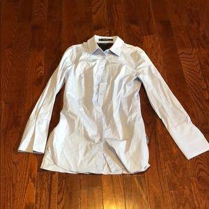 Zara light blue button-down tunic top shirt small